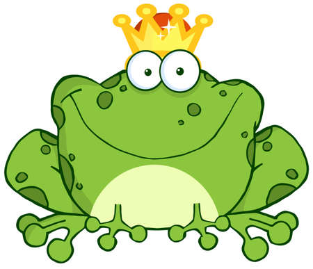 bullfrog: Frog Prince Cartoon Character Illustration