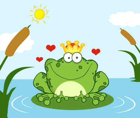 rana principe: Coronado pr�ncipe rana sobre una hoja en el lago Vectores