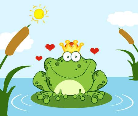 principe: Incoronato il principe Frog su una foglia Nel Lago Vettoriali