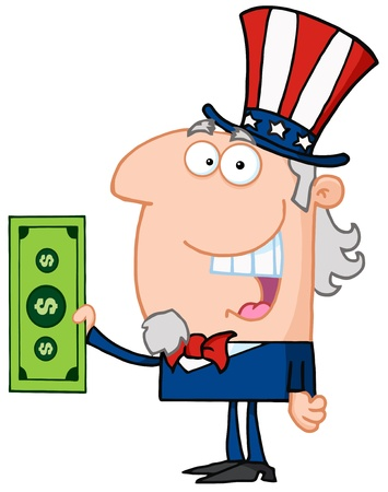 abe: Uncle Sam With Holding A Dollar Bill Illustration