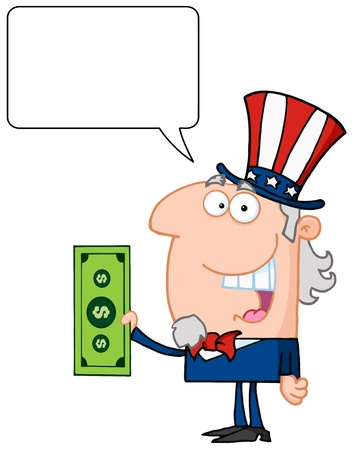 Uncle Sam With Holding A Dollar Bill With Speech Bubble Vector