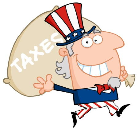 Uncle Sam Runs And Carries A Bag Of Money