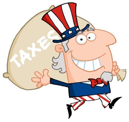 podatek: Uncle Sam biegnie i niesie ze sobą torbę pieniędzy Ilustracja