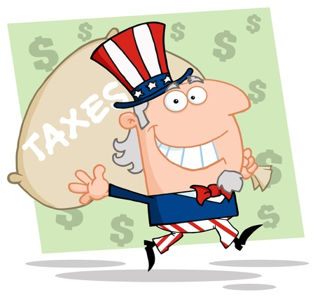 sam: Happy Uncle Sam Runs And Carries A Bag Of Money Illustration