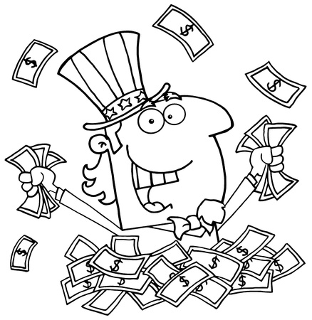 Outlined Uncle Sam Playing In A Pile Of Money Vector
