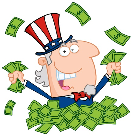 cash: Uncle Sam Playing In A Pile Of Money Illustration