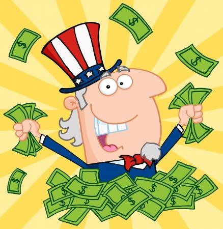 Glückliche Uncle Sam Spielen in einem Haufen Geld