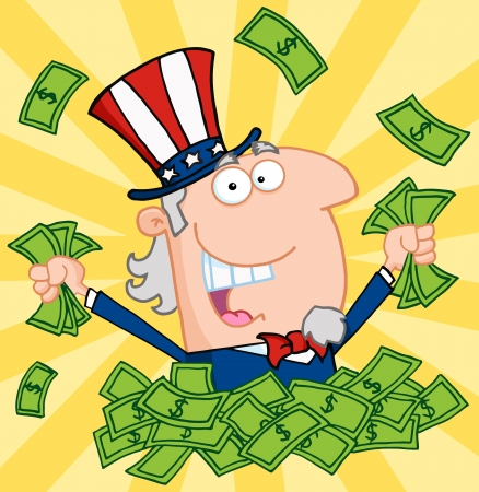 cash: Happy Uncle Sam Playing In A Pile Of Money