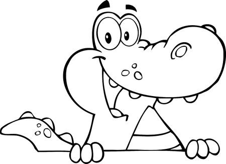 krokodil: Skizziert Alligator oder Krokodil an einem Zeichen