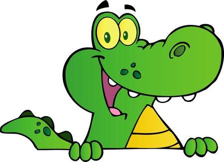 alligators: Alligator Or Crocodile Over A Sign