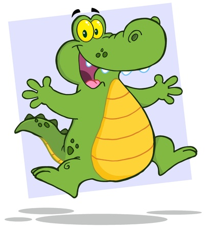 Happy Alligator Or Crocodile Jumping Vector