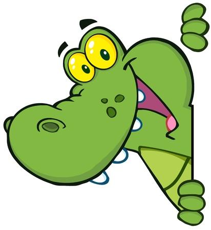 crocodile: Cocodrilo feliz Mirando Alrededor de una muestra en blanco