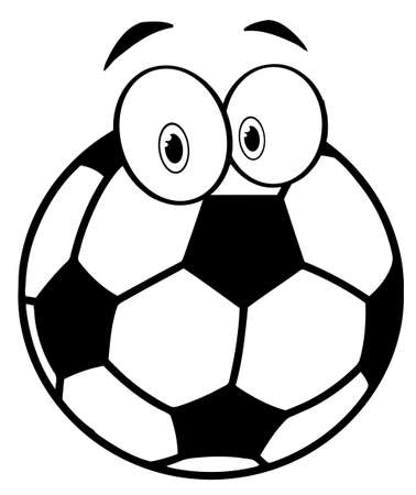 eye ball: Outlined Cartoon Soccer Ball Illustration