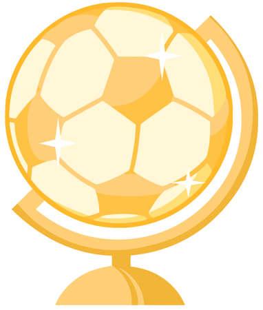 soccer: Gold Soccer Ball Desk Globe Illustration