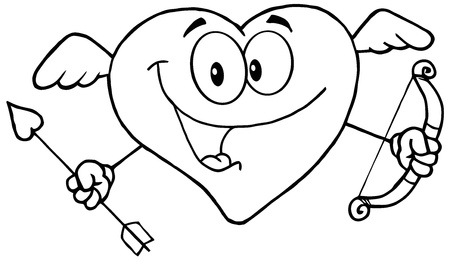Outlined Happy Heart Cupid With A Bow And Arrow Vector
