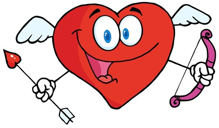 Happy Heart Cupid With A Bow And Arrow Vector