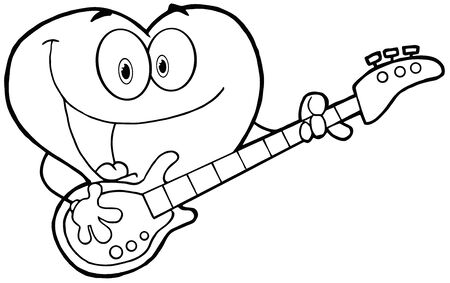 Outlined Romantic Red Heart Man Playing A Guitar And Singing Иллюстрация
