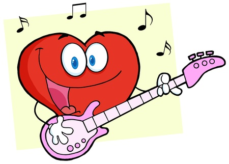 Romantic Red Hear Playing A Guitar And Singing Vector