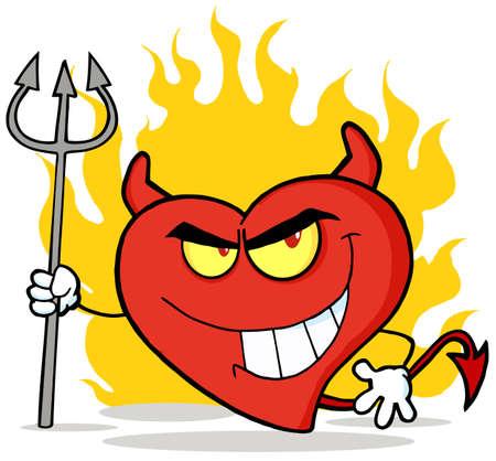 design bad: Naughty Red Heart Character Devil  Illustration