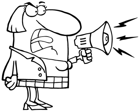 Outlined Mad Business Woman Yelling Through A Megaphone Vector