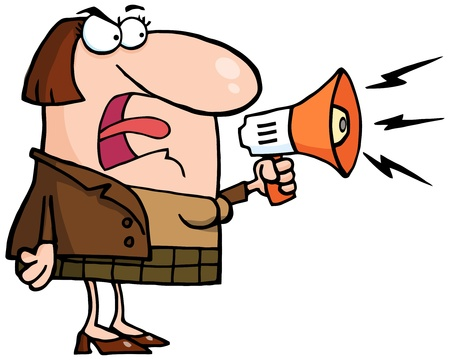 jefe enojado: Mujer de negocios Mad Gritar trav�s de un meg�fono Vectores