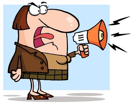Business Woman Angry Urlare attraverso un megafono Archivio Fotografico - 12145735