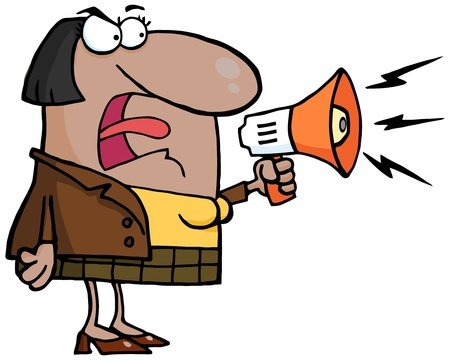 african american business woman: Angry African American Business Woman Yelling Through A Megaphone  Illustration