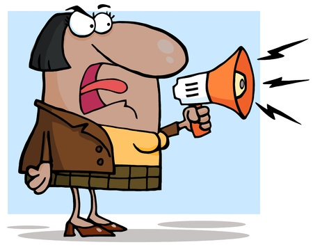 anger management: African American Business Woman Yelling Through A Megaphone