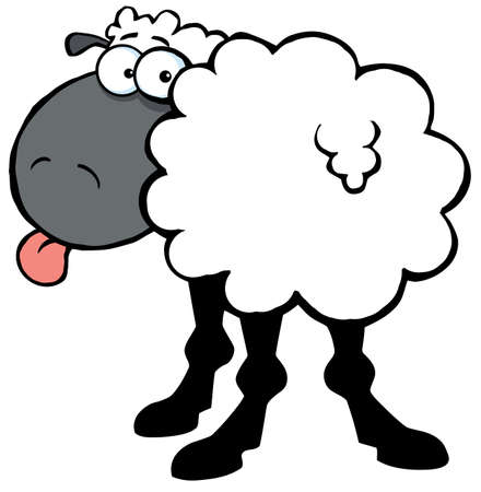 tongue out: Funky Black Sheep Sticking Out His Tongue Illustration