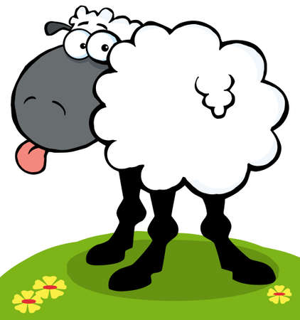 cartoony: Funky Black Sheep Sticking Out His Tongue On A Hill