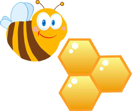 Cute Bee Cartoon Character With Bee Hives Vector