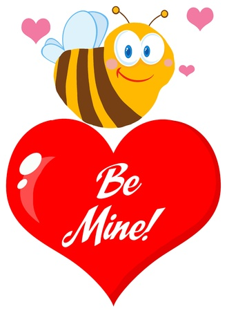 Cute Bee  A Red Heart  Vector