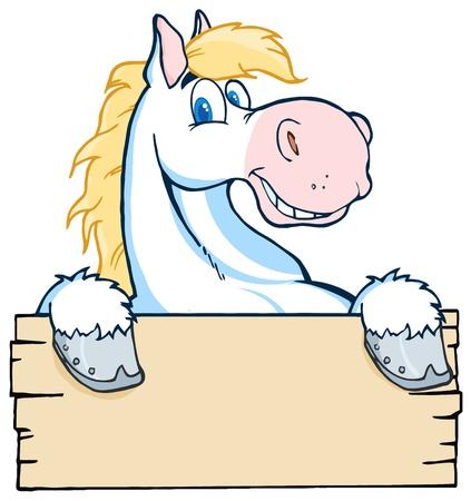 caballo caricatura: Mirar por encima del Caballo Blanco un letrero de madera en blanco Vectores
