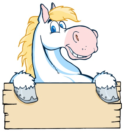 cowboy on horse: White Horse Looking Over A Blank Wood Sign Illustration