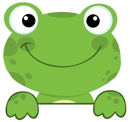 schattige dieren cartoon: Leuke Kikker glimlachend over een bord Stock Illustratie