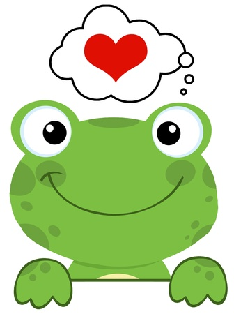 rana caricatura: Cute rana sobre una tabla de sesi�n y la burbuja del habla con el coraz�n