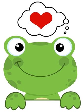 frosch: Netter Frosch �ber ein Schild Und Sprechblase mit Herz Illustration