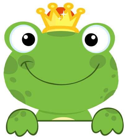 animal foot: Cute Frog Prince Over A Sign Board