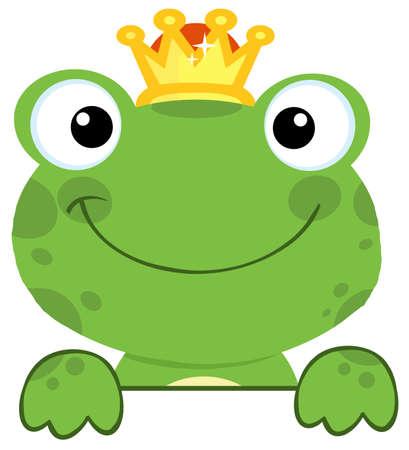 rana caricatura: Lindo Frog Prince sobre una tabla de sesi�n Vectores