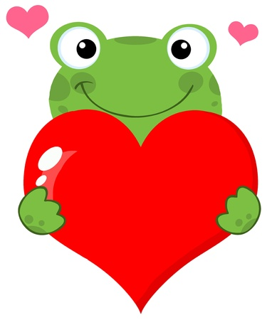 Cute Frog Holding A Heart Vector