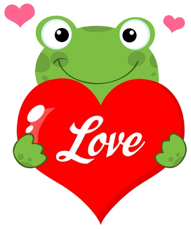 Cute Frog Holding A Heart With Text Vector