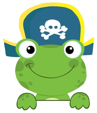 Cute Frog With Pirate Hat Over A Sign Board