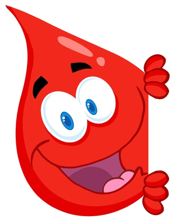 bleed: Happy Red Blood Drop Looking Around A Sign Illustration