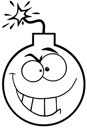 Outlined Crazy Evil Bomb Cartoon Character Vector