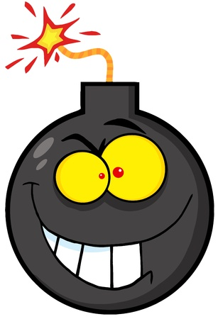 Crazy Evil Bomb Cartoon Character Vector
