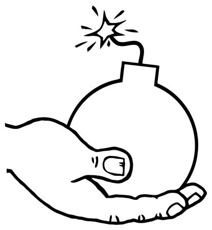 Outlined Terrorist Hand Holding A Bomb Vector