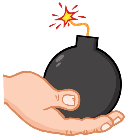 Hand Holding Bomb Illustration