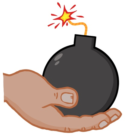 African American Hand Holding Bomb Vector