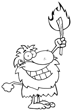 Outlined Caveman Holding Up A Torch