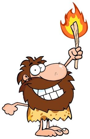 �ge de pierre: Caveman heureux holding une torche Illustration